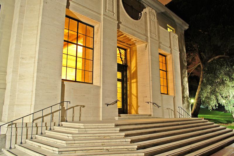 Giannini Hall at night